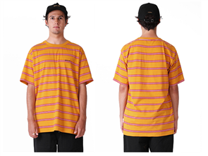 RPM Stripe Short Sleeve Tee, Yellow/Red