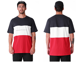 RPM Panel Short Sleeve Tee, Navy/White/Red