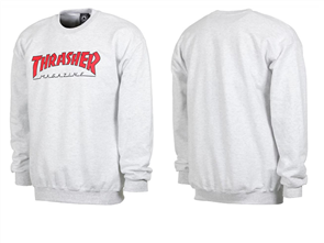 Thrasher Outlined Crew, Ash Grey