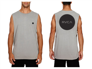 RVCA MOTORS BADGE MUSCLE SINGLET, CEMENT