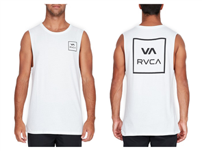 RVCA VA ALL THE WAY MUSCLE SINGLET, WHITE