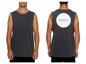 RVCA MOTORS BADGE MUSCLE SINGLET, BLK ACID