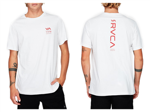 RVCA DOWN THE LINE SHORT SLEEVE TEE, WHITE