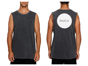 RVCA VA ALL THE WAY MUSCLE SINGLET, BLACK