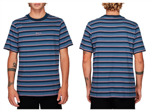 RVCA CURTIS STRIPE SHORT SLEEVE TEE, CHINA BLUE