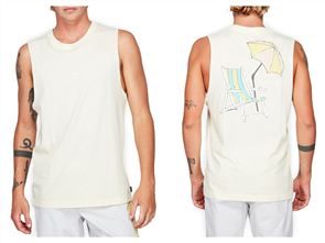 RVCA PARADISO MUSCLE SINGLET, PALE YELLOW