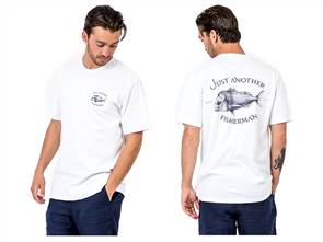Just Another Fisherman SNAPPER LOGO SHORT SLEEVE TEE, WHITE/ BLUE