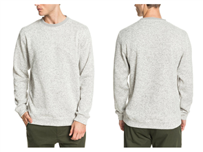 Quiksilver KELLER CREW MENS PULLOVER, GREY HEATHER