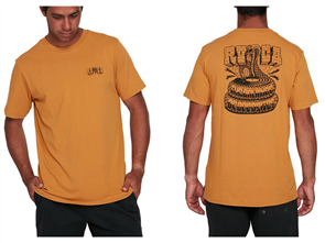 RVCA COBRA RECORDS SS TEE, HONEY MUSTARD