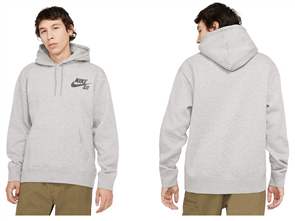 Nike SB ICON PO ESSENTIAL HOODIE, DK GREY HEATHER/BLACK