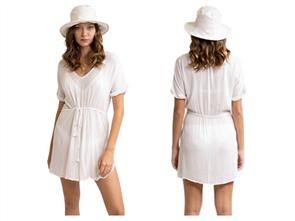 Rhythm SUNRISE BEACH DRESS, WHITE