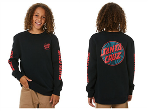 Santa Cruz DEPTH DOT YOUTH CREW FLEECE, BLACK