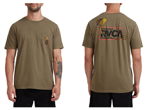 RVCA SNAKE EYES SHORT SLEEVE TEE, DARK OLIVE