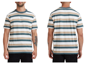 RVCA CURTIS STRIPE II SHORT SLEEVE TEE, NATURAL