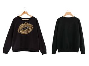 Stella + Gemma Leopard Lips Sweater, Black