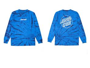 Santa Cruz Keyline Long Sleeve Youth Tee, New Blue Tie Dye