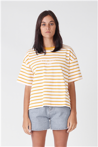 RPM Box Tee, Gold/Cream Stripe