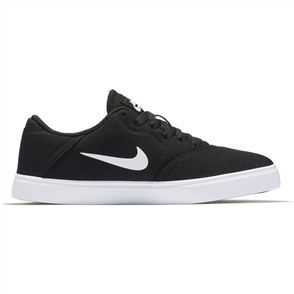 Nike Boys' SB Check Canvas (GS) Skateboarding Shoe, Black White