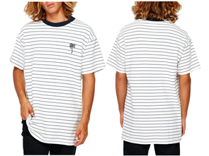 Billabong Pique Stripe Emb Short Sleeve Tee, Snow