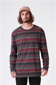 RPM Stripe Long Sleeve Forrest Maroon Tee , Navy Stripe