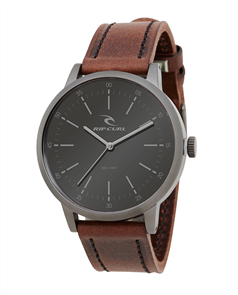Rip Curl Mens Drake Leather Gunmetal Surf Watch, Gunmetal