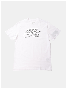 Nike MENS SB EMBROIDED LOGO SHORT SLEEVE TEE, WHITE/BLACK