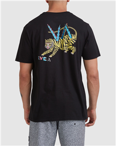 RVCA LEINES TIGER SHORT SLEEVE TEE, WASHED BLACK