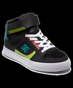 DC PURE HIGH-TOP EV Shoe, BLACK/ORANGE/GREEN