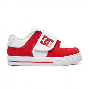 DC PURE VELCRO II TODDLERS SHOE, White/ Red