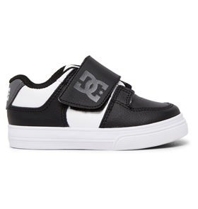 DC PURE VELCRO II TODDLERS YOUTH SHOE, BLACK/WHITE/GREY