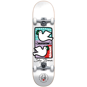 Almost Double Doves Skateistan Sky Brown Complete Skateboard, White