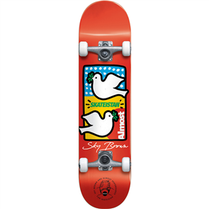 Almost Double Doves Skateistan Sky Brown Complete Skateboard, Red