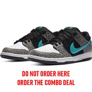 Nike SB Dunk Low Atmos Elephant Shoe, Medium Grey/Black-Wht-Clear Jade
