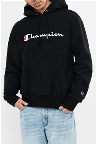 Champion REVERSE WEAVE HOODIE WITH SCRIPT, BLACK