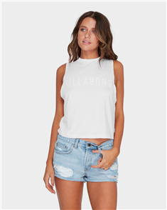Billabong CHEVY CROP MUSCLE TOP, WHITE