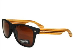 Moana Rd Sunnies, Black Striped Arms Brown Lens