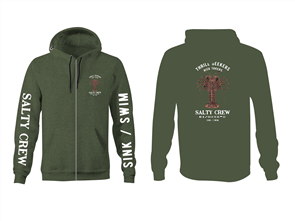 Salty Crew Buggin Out Zip Fleece, Army Heather