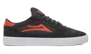 Lakai CAMBRIDGE LEATHER SHOE, CHARCOAL/FLAME SUEDE