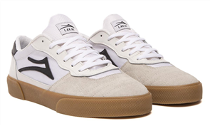 Lakai CAMBRIDGE LEATHER SHOE, WHITE/BLACK SUEDE
