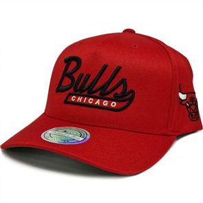 Mitchell Ness Bulls Script N Tail Pinch 110 Snapback Cap, Red