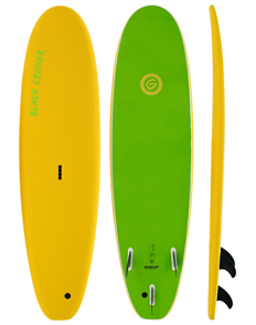 Gnaraloo Beach Cruiser Soft Surfboard, Yellow Lime