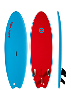 Gnaraloo Flounder Pounder Soft Surfboard, Blue / Red