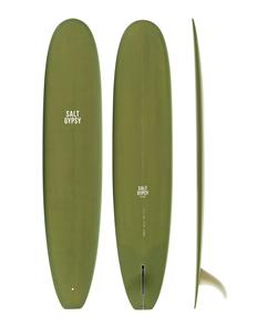 Salt Gypsy Surfboards & SUP Dusty Retro Longboard Olive Tint Surfboard