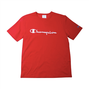 Champion HERITAGE SCRIPT SHORT SLEEVE TEE, TEAM RED SCARLETT