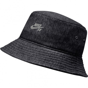 Nike U  FRENCH TERRY BUCKET HAT, BLACK HEATHER/PARTICLE GREY