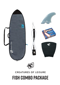 Creatures Of Leisure Fish 3mm Foam Lite Bag, 6'0 Pro Leash, Panel Grip, FCS Fins, Wax Combo