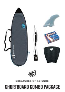 Creatures Of Leisure Shortboard Lite Bag, 6'0 Pro Leash, Panel Grip, FCS Fins, Wax Combo