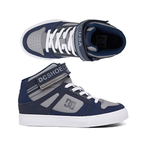 DC PURE HT EV BOYS YOUTH SHOE, NAVY/GREY