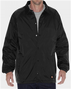 Dickies 76242 Coaches Snap Front Nylon Jacket, Black