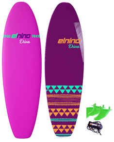 El Nino Diva - Cruiser Soft Surfboard, 2017-18, Purple/blue, Size 6'6""